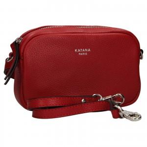 Kožená dámska ledvinko- kabelka Katana Marcels - tmavo červená