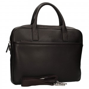 Kožená taška na notebook Katana Talin - tmavo hnedá