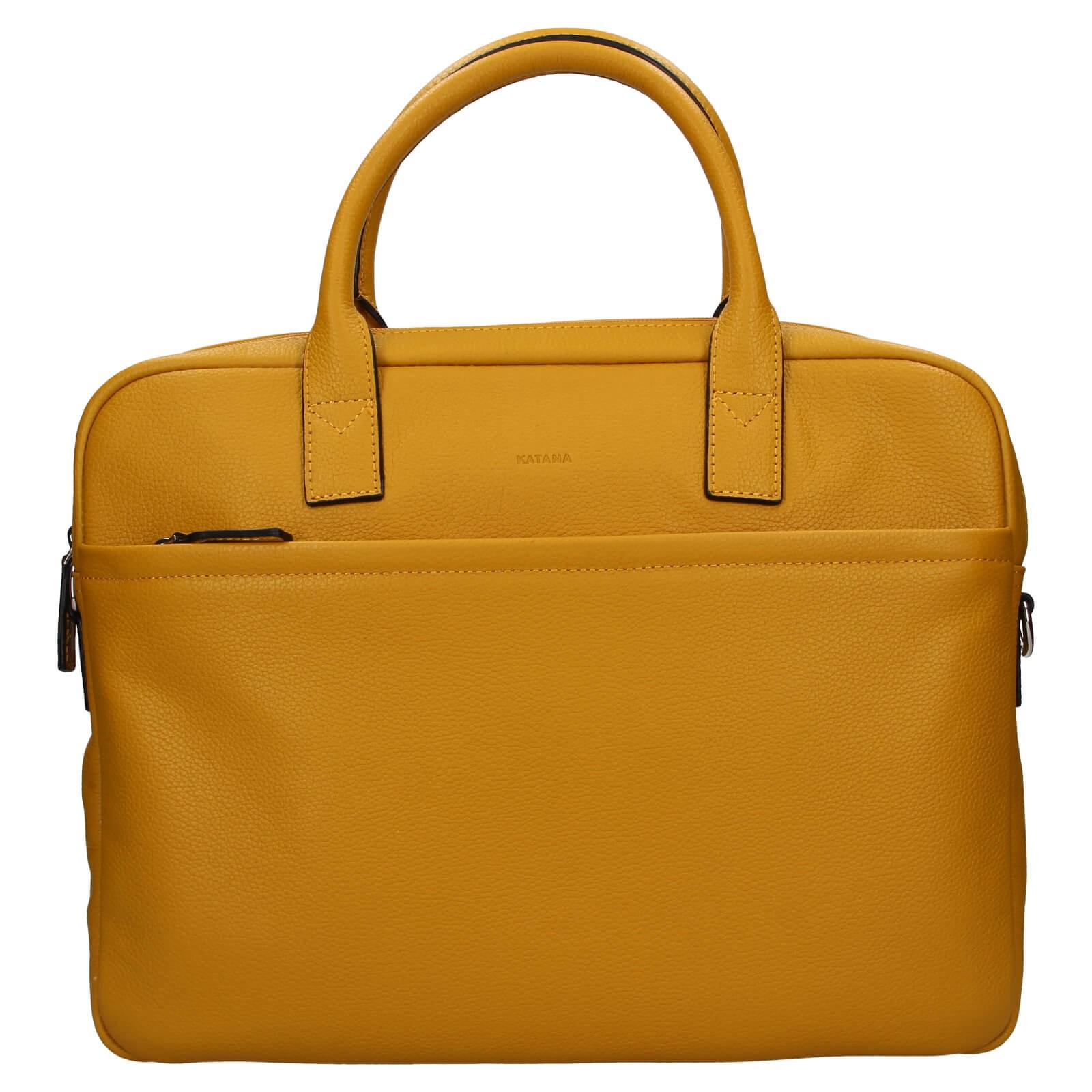 Kožená taška na notebook Katana Talin - žltá