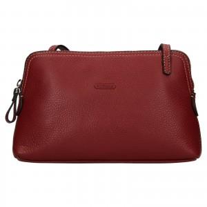 Kožená dámska crosbody kabelka Katana Mia - tmavo červená