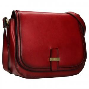 Kožená dámska crosbody kabelka Katana Vinoa - tmavo cervená
