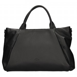 Elegantná dámska kožená kabelka Katana Stella - čierna
