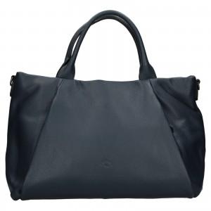 Elegantná dámska kožená kabelka Katana Stella - tmavo modrá