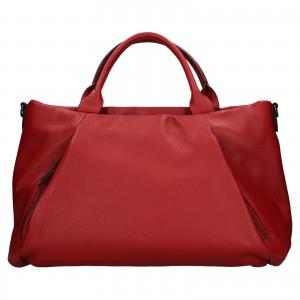 Elegantná dámska kožená kabelka Katana Stella - tmavo červená