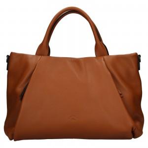 Elegantná dámska kožená kabelka Katana Stella - hnedá