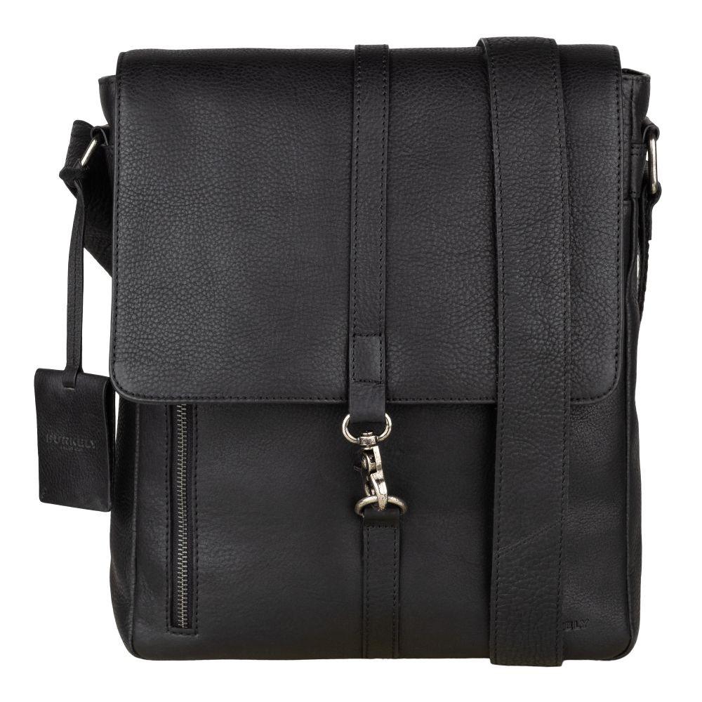 Pánska kožená taška cez rameno Burkely Avery - čierna