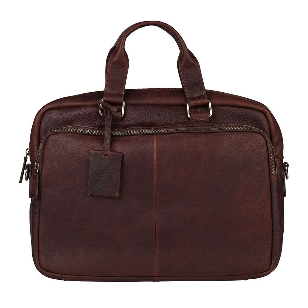 Pánska kožená taška na notebook Burkely Workbag - tmavo hnedá