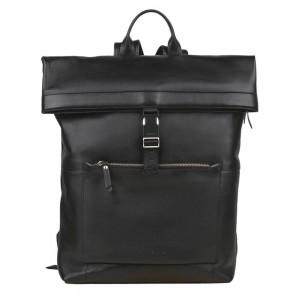 Trendy kožený batoh Burkely Rolltop - čierna