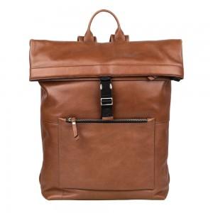 Trendy kožený batoh Burkely Rolltop - hnedá