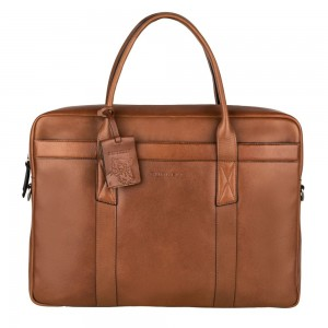 Pánska kožená taška na notebook Burkely Dominic - koňak