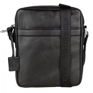 Pánska kožená taška cez rameno Burkely Kevins - čierna