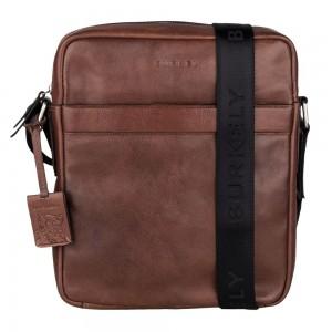 Pánska kožená taška cez rameno Burkely Kevins - hnedá