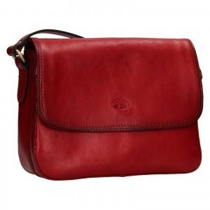 Kožená dámska crosbody kabelka Katana Jarnia - tmavo červená