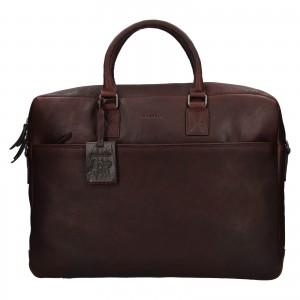 Pánska kožená taška na notebook Burkely Maxvel - tmavo hnedá