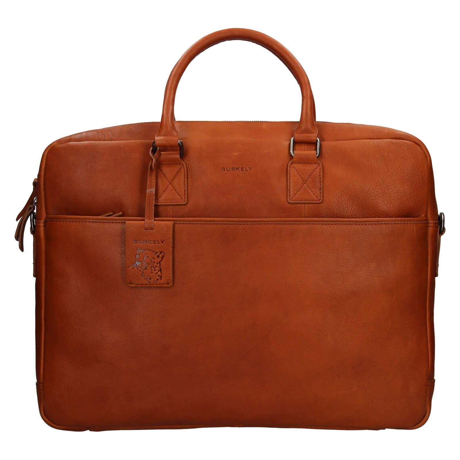 Pánska kožená taška na notebook Burkely Maxvel - koňak