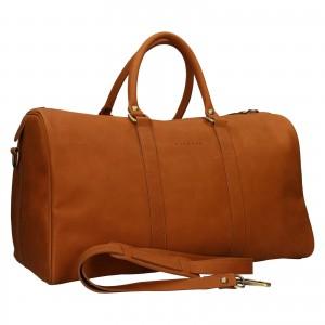 Kožená cestovná taška Facebag Davis - svetlo hnedá