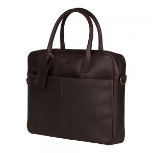 Kožená taška na notebook Burkely Jacko - tmavo hnedá