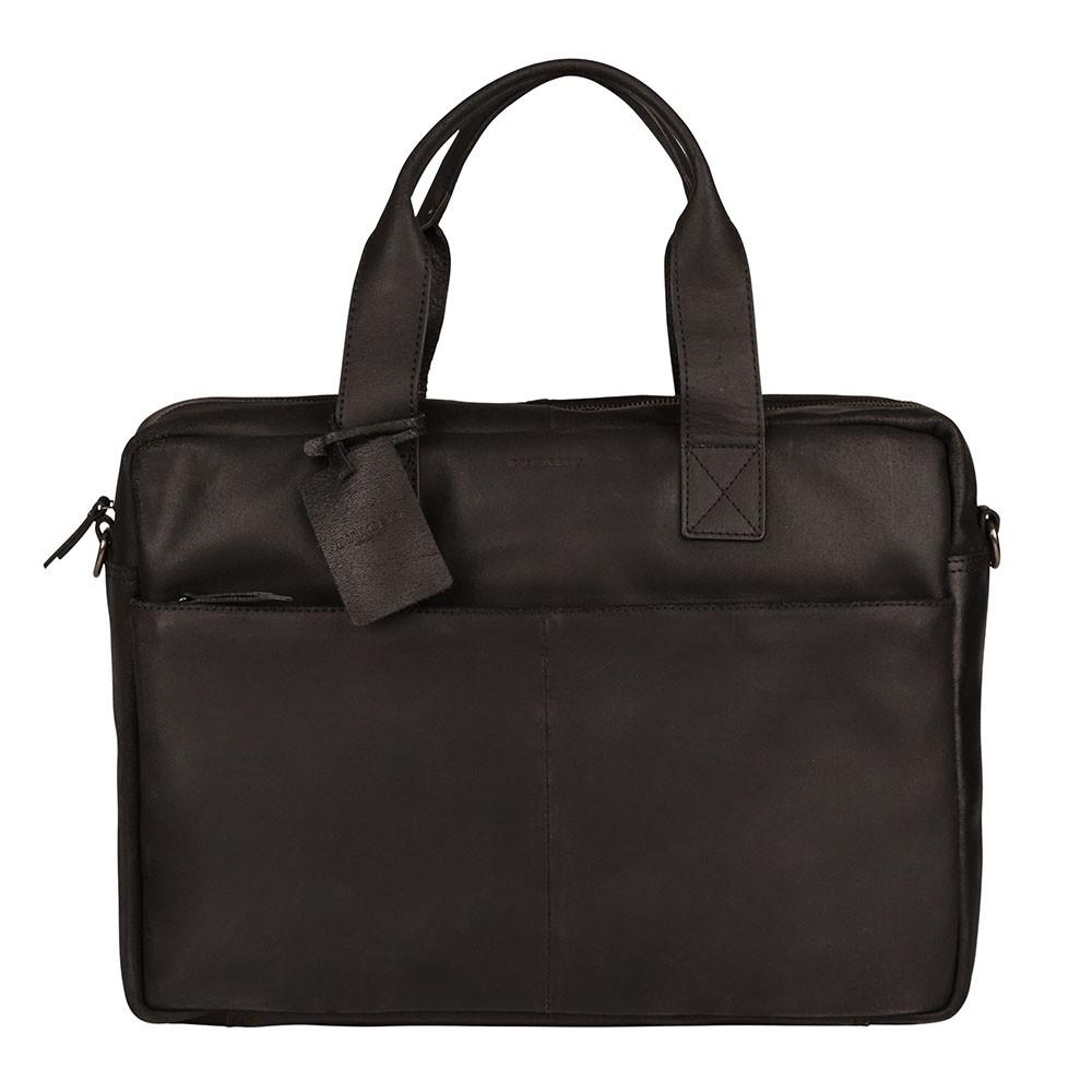 Kožená taška na notebook Burkely River - čierna