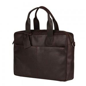 Kožená taška na notebook Burkely River - tmavo hnedá
