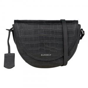 Dámska crossbody kožená kabelka Burkely Moon - čierna