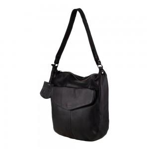 Dámska kožená kabelka cez rameno Burkely Hobo - čierna