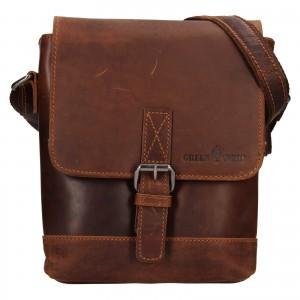 Pánska kožená taška cez rameno Greenwood Fion - hnědá
