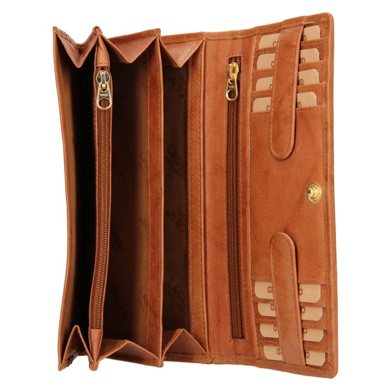 Dámska kožená peňaženka Lagen Amalie - koňak