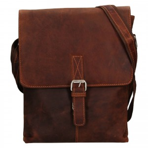 Pánska kožená taška cez rameno Greenwood Ashwn - hnědá