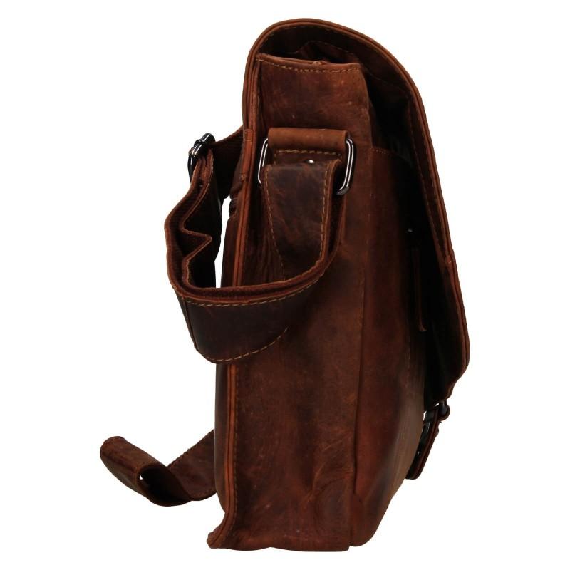 Pánska kožená taška cez rameno Greenwood Konte - hnedá