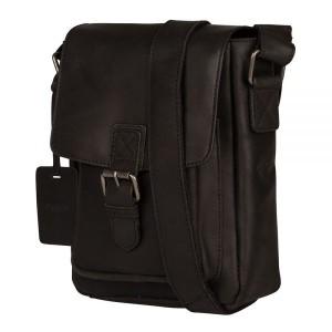 Pánska kožená taška cez rameno Burkely Luke - čierna