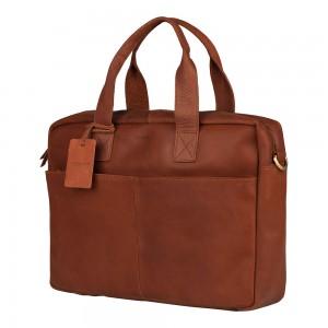 Kožená taška na notebook Burkely River - koňak