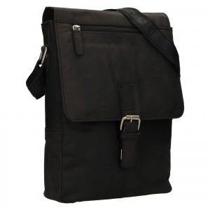 Pánska kožená taška cez rameno Greenwood Alister - čierna