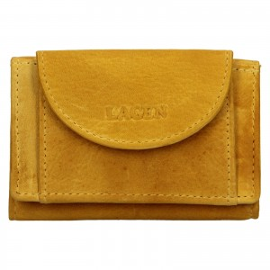 Dámska kožená slim peňaženka Lagen Mellba - žltá