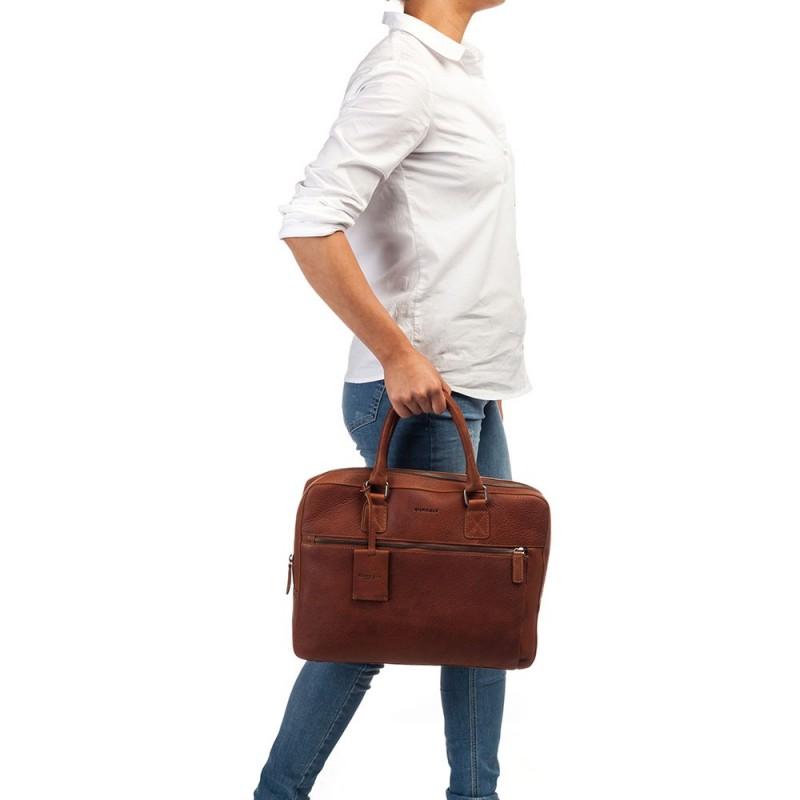 Pánska kožená taška na notebook Burkely Laptop - koňak