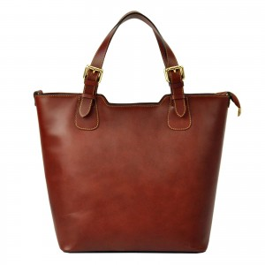 Dámska kožená kabelka Vera Pelle Jane - hnedá