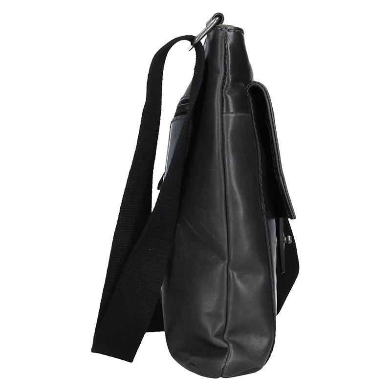 Unisex kožená taška cez rameno Lagen Apolon - čierna