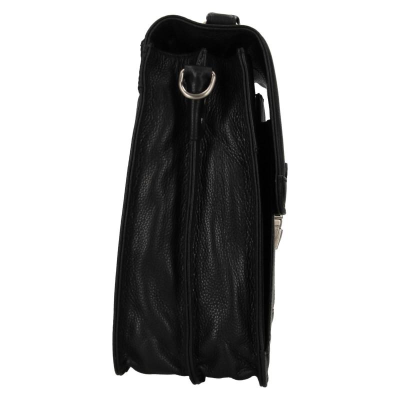Pánska kožená aktovka Lagen Nice - čierna