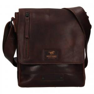 Pánska kožená taška cez rameno Mustang Arthur - tmavo hnedá