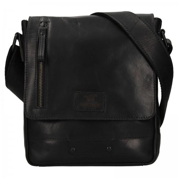 Pánska kožená taška cez rameno Mustang Arthur - čierna