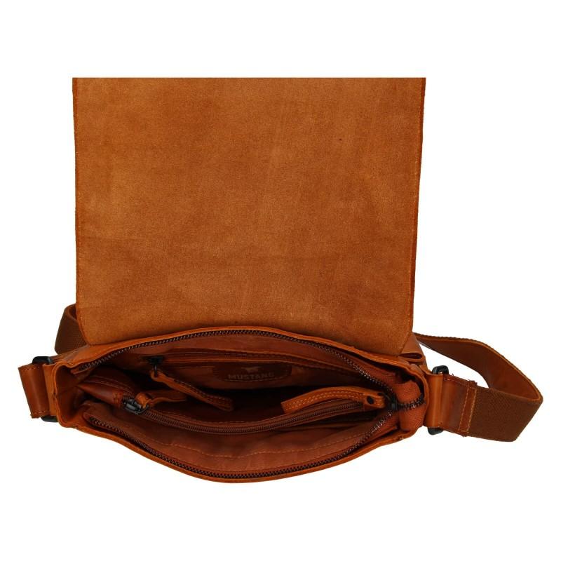 Pánska kožená taška cez rameno Mustang Hugo - koňak