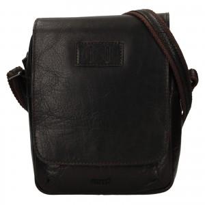 Pánska kožená taška cez rameno Justified Libor - tmavo hnedá