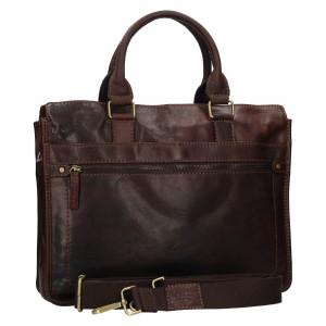 Pánska kožená taška cez rameno Lagen Benedikt - tmavo hnedá