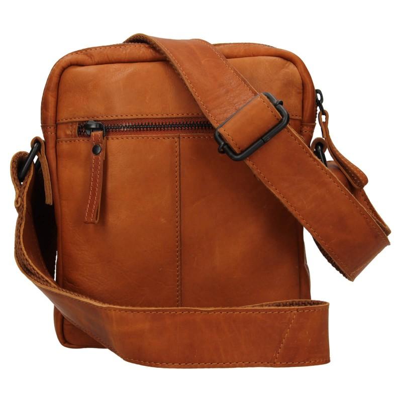 Pánska kožená taška cez rameno Mustang Dumas - koňak