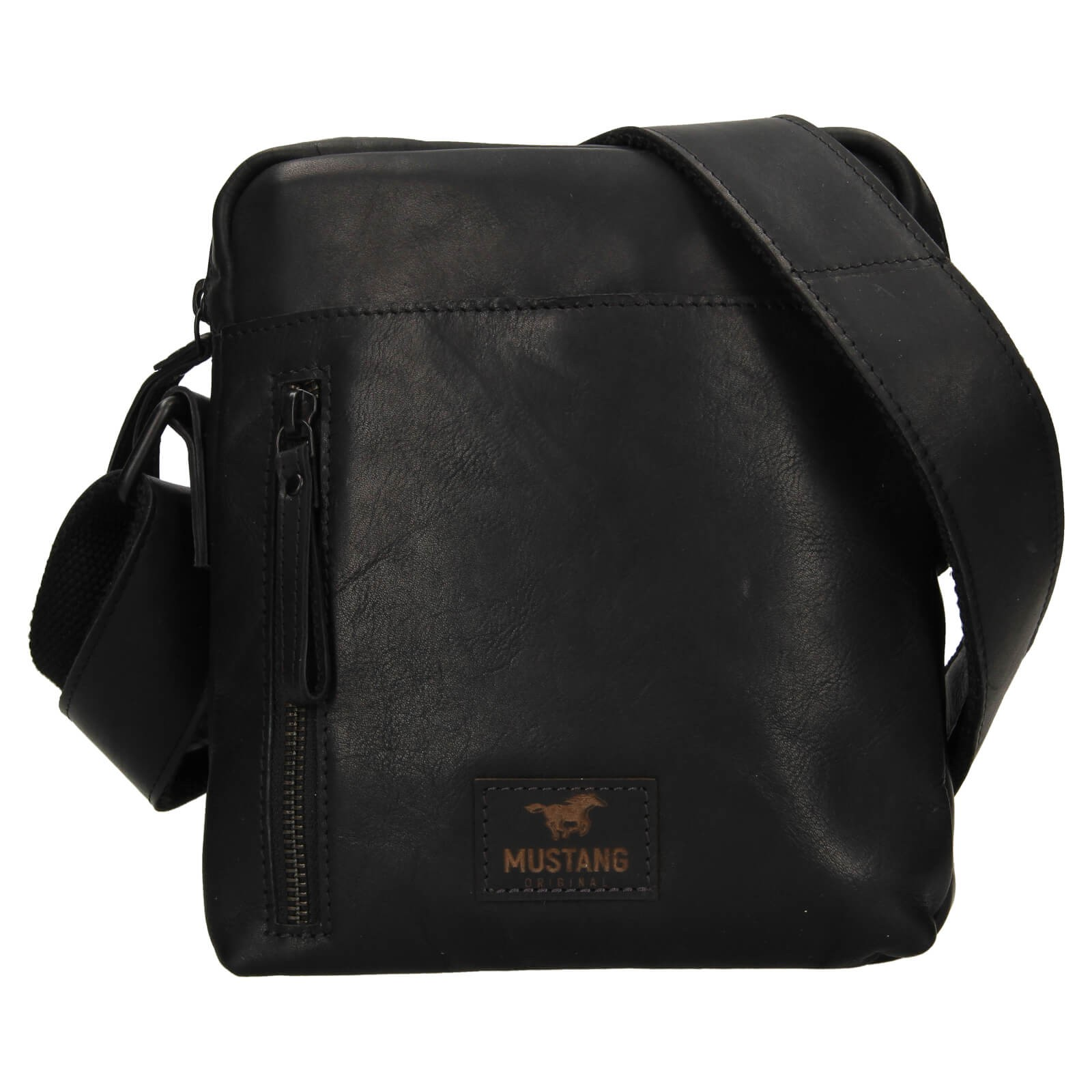 Pánska kožená taška cez rameno Mustang Dumas - čierna