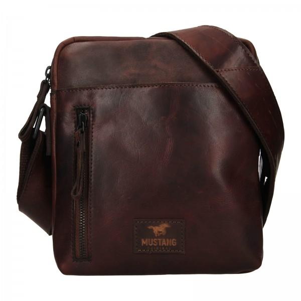 Pánska kožená taška cez rameno Mustang Dumas - tmavo hnedá