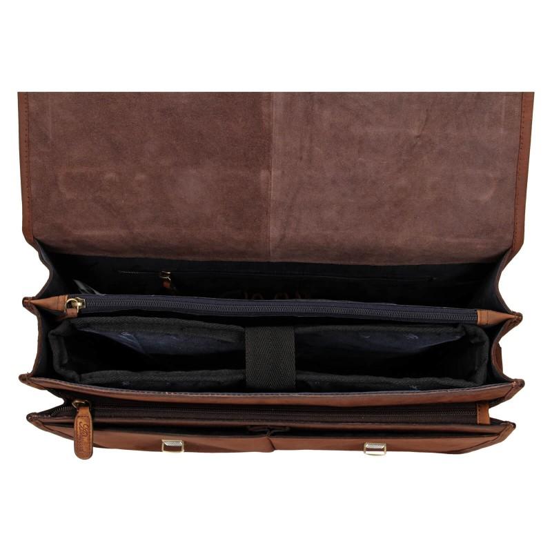 Pánska kožená aktovka Ashwood Lux - hnedá