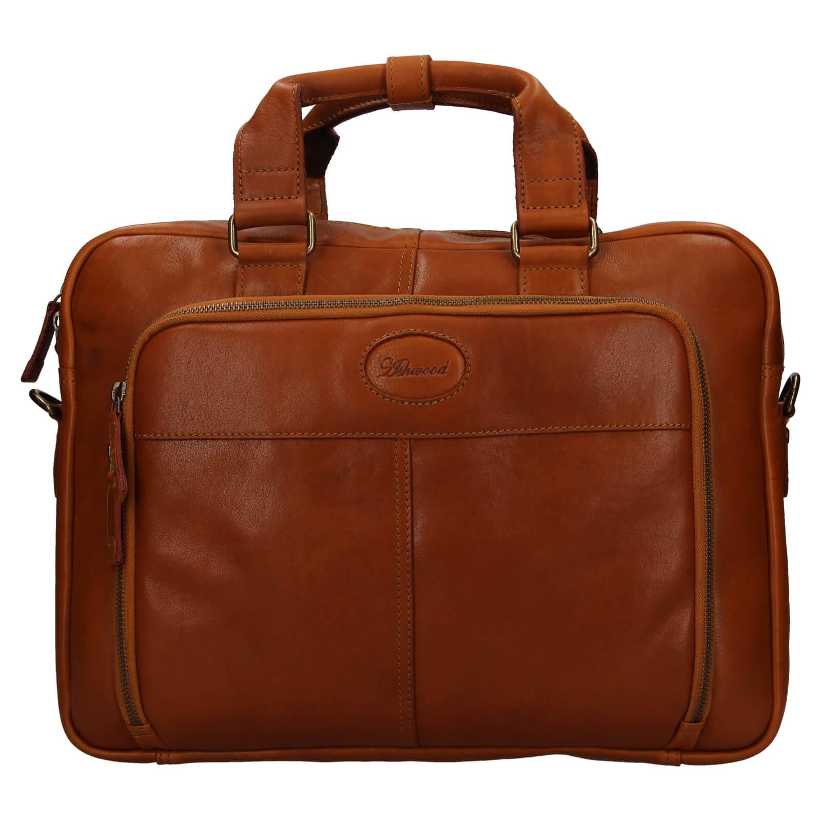 Pánská kožená taška na notebook Ashwood Bens - koňak