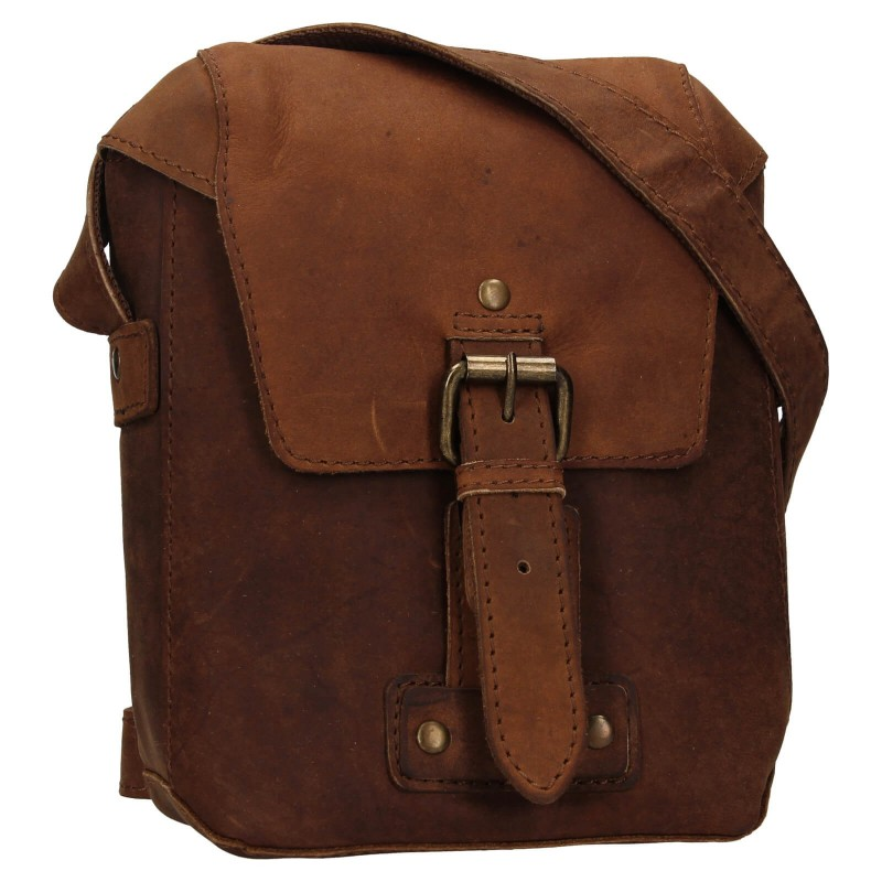 Pánska kožená taška cez rameno Ashwood Miro - hnědá