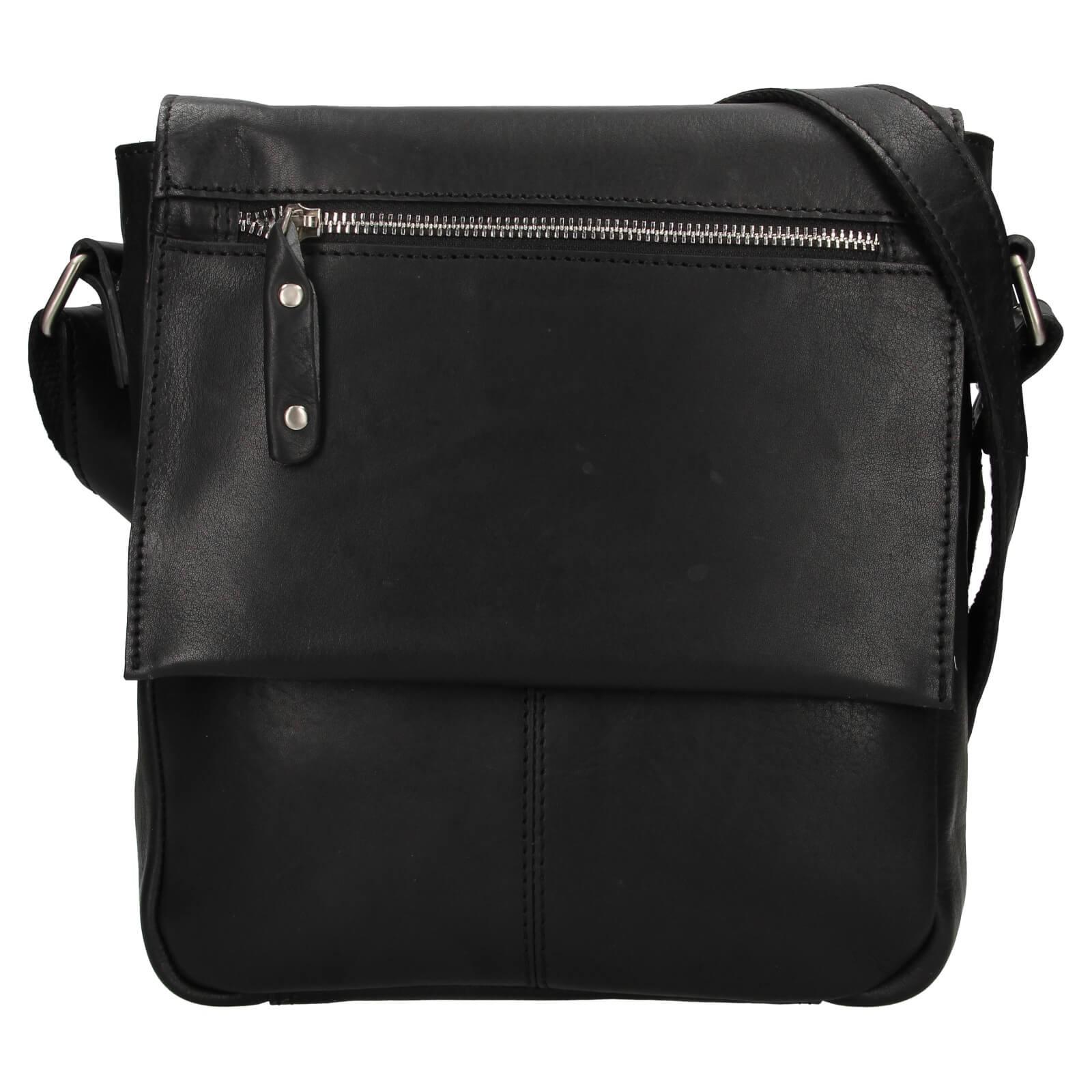 Pánska kožená taška cez rameno Ashwood Lion - čierna