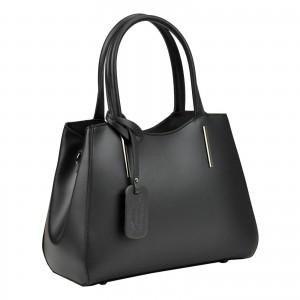 Dámska kožená kabelka Vera Pelle Karmin - čierna